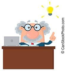 grande, professore, carattere, idea, o, dietro, scienziato, scrivania, cartone animato