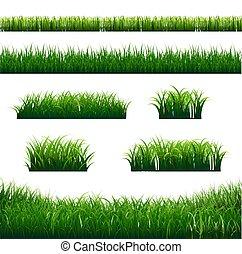 grande, profili di fodera, erba, verde, set