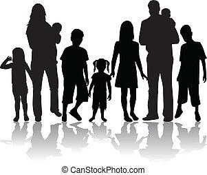 grande, profili, famiglia