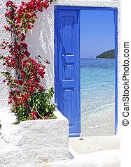 grande, puerta, isla, tradicional, griego, santorini, grecia, vista