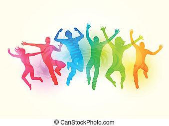 grande, pular, grupo, pessoas