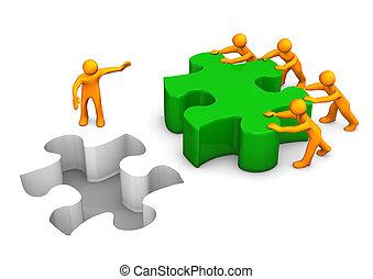 grande, puzzle, lavoro squadra