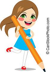 grande, ragazza, presa a terra, matita