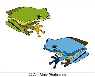 grande, rana, sfondo verde, bianco, cartone animato