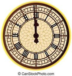 grande, reloj, ben, medianoche, cara