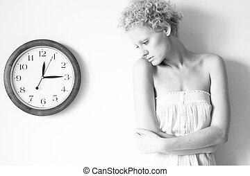 grande, reloj, joven, negro, photo., oferta, niña, blanco