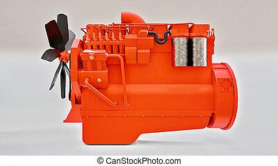 grande, rendering., diesel, 3d, caminhão, depicted., motor
