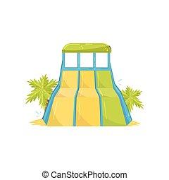 grande, resbaladero agua, con, tres, lanes., verde, palma, árboles., parque de aqua, equipment., plano, vector, diseño