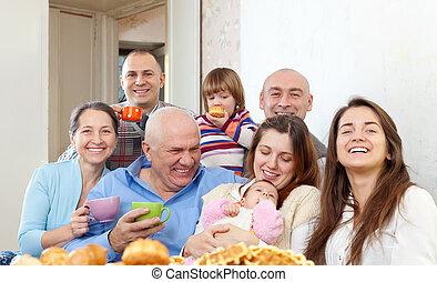 grande, retrato, multigeneration, familia