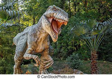 grande, rex, modelo, selva, tyranosaurus