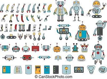 grande, robot, partes, color, conjunto, diferente