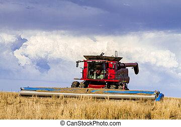 grande, rojo, combina, agricultura, equipo