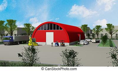 grande, rojo, hangar