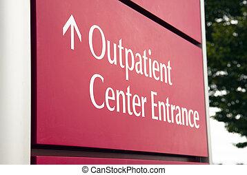 grande, rojo, hospital, paciente externo, centro, entrada de la emergencia, salud