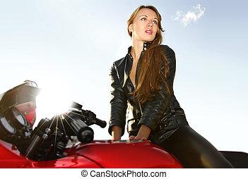 grande, rubio, joven, rojo, motocicleta
