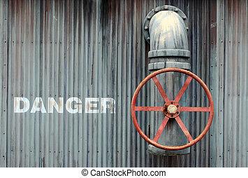 grande, rueda, válvula, con, peligro