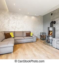 grande, sala de estar, sofá