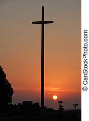grande, salida del sol, cruz