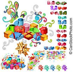 grande, scatole, collezione, regalo