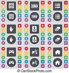 grande, scooter, bed-table, colorido, apartamento, gamepad, mão, casa, galeria, símbolo., orador, botões, lista, jogo, encarregando, ícone, seu, design.