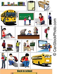 grande, scuola, set, school., indietro