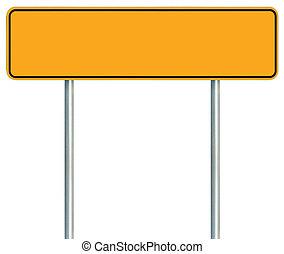 grande, señal, poste indicador, marco, signage, signboard, aislado, amarillo, espacio, poste, advertencia, negro, camino, zona lateral de camino, tráfico, poste, copia, vacío, blanco