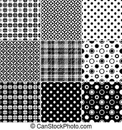 grande, seamless, colección, patrones