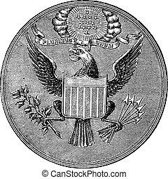 grande selo estados unidos, de, américa do norte, vindima, gravado, ilustração