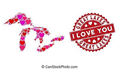 grande, selo, grunge, lagos, valentine, colagem, mapa, selo, coração