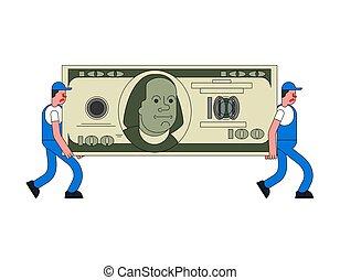 grande, service., movedores, grande, dinheiro., ilustração, carregador, entrega, vetorial, em movimento, holding., dollar., carregar, movedor, zeladores, homem