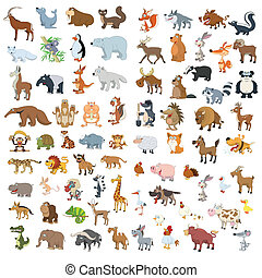 grande, set, animali, uccelli, extra