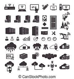 grande, set, dati, icone