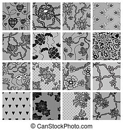 grande, set, di, laccio, vettore, tessuto, seamless, patterns.