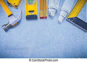 grande, set, di, lavorativo, attrezzi, su, industriale, metallico, fondo
