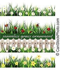 grande, set, erba, verde, seamless