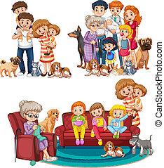 grande, set, famiglia