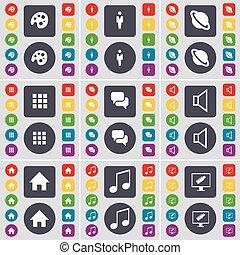 grande, set, monitor, appartamento, pianeta, tavolozza, silhouette, casa, simbolo., bottoni, apps, vettore, nota, suono, icona, chiacchierata, colorato, tuo, design.