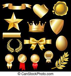 grande, set, oro, elementi