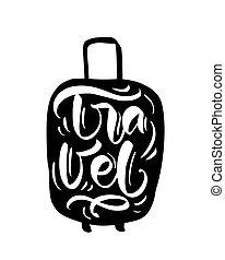 grande, seu, motivação, citação, viajando, pacote, inspiração, silhouette., viagem, mala, cartaz, adventure., typography., sacolas
