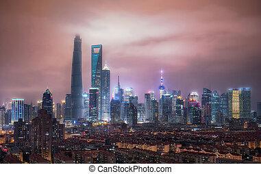 grande, shanghai, contorno, vista