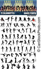 grande, silhouette, set, ballo, persone