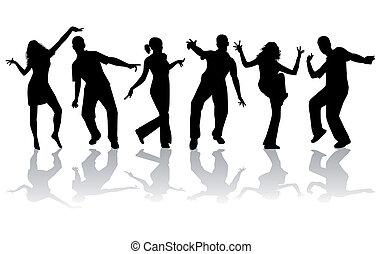 grande, silhuetas, -, cobrança, dançar