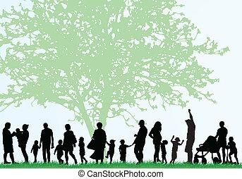 grande, silhuetas, família