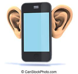 grande, smartphone, orelhas