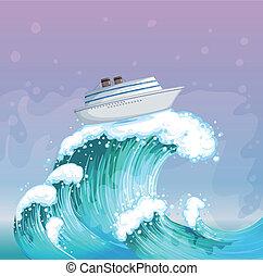 grande, sobre, barco, onda