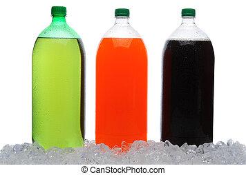 grande, soda, botellas, en, hielo