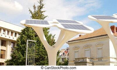 grande, solar, painéis