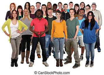 grande, sonriente, grupo, jóvenes