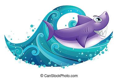 grande, squalo, onda