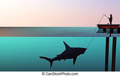 grande, squalo, pescatore, caccia